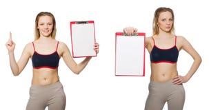 La mujer joven con la libreta en blanco imágenes de archivo libres de regalías