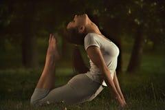La mujer joven de la yoga de la aptitud que hace estirar ejercita en hierba Fotos de archivo libres de regalías
