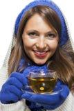 La mujer joven de moda en un azul hizo punto el conjunto del invierno Foto de archivo libre de regalías