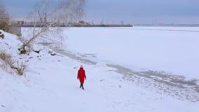 La mujer joven de la opinión de la parte trasera en chaqueta larga roja camina en el banco nevado del río con el abedul creciente almacen de metraje de vídeo