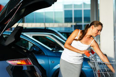 La mujer joven desplaza la compra del carro de la compra en el tronco Imagen de archivo libre de regalías
