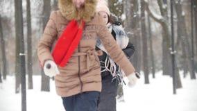 La mujer joven dos en el parque del invierno que juega la captura sube junta y divirtiéndose metrajes