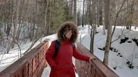 La mujer joven en chaqueta caliente roja mira paisaje del invierno almacen de video