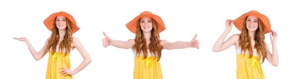 La mujer joven en el vestido amarillo del verano aislado en blanco Fotografía de archivo libre de regalías