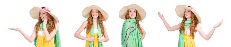 La mujer joven en el vestido amarillo del verano aislado en blanco Fotos de archivo
