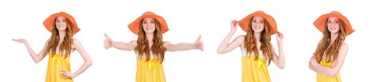 La mujer joven en el vestido amarillo del verano aislado en blanco Imagen de archivo libre de regalías