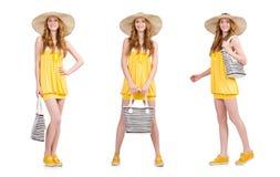 La mujer joven en el vestido amarillo del verano aislado en blanco Imagenes de archivo