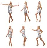 La mujer joven en el vestido de plata aislado en blanco Imagen de archivo libre de regalías