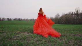 La mujer joven en un vestido rojo lujoso corre a lo largo de la hierba verde metrajes