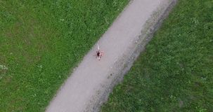 La mujer joven en vestido da vuelta en la trayectoria de la grava en parque Abejón que sube encima de tiro aéreo metrajes