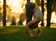 La mujer joven está haciendo el asana Uttanasana - doblez delantero permanente de la yoga en el parque en la puesta del sol Fotos de archivo libres de regalías