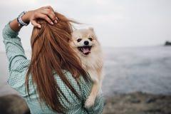 La mujer joven está sosteniendo el perro al aire libre Imagen de archivo