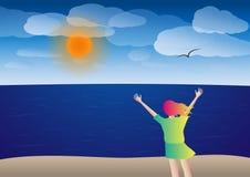 ¡La mujer joven feliz en la playa, manos sube y asolea brillo! Ejemplo del vector Foto de archivo
