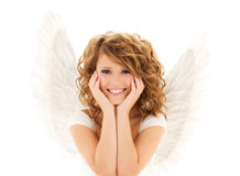 La mujer joven feliz o la muchacha adolescente con ángel se va volando foto de archivo