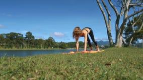 La mujer joven hace yoga en Karemat contra paisaje almacen de video
