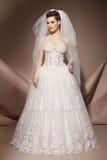 La mujer joven hermosa en un vestido de boda Foto de archivo libre de regalías
