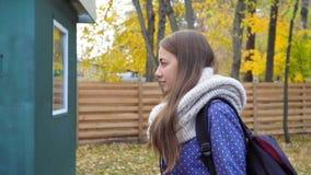 La mujer joven hermosa lleva la bufanda hecha punto y caminar en parque del otoño Movimiento video metrajes
