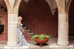 La mujer joven hermosa se coloca que se inclina en una columna en un paso arqueado Imagen de archivo