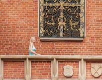 La mujer joven hermosa se opone a un fondo de la pared de ladrillo Fotos de archivo libres de regalías