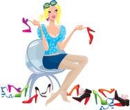 La mujer joven intenta encendido los zapatos libre illustration