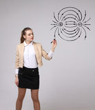 La mujer joven, profesor de la física dibuja un diagrama del campo eléctrico foto de archivo