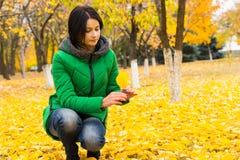 La mujer joven que comprueba hacia fuera la caída amarilla se va Imagen de archivo libre de regalías