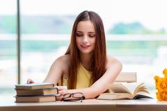 La mujer joven que se prepara para los exámenes de la escuela Imágenes de archivo libres de regalías