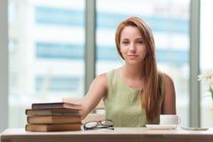 La mujer joven que se prepara para los exámenes de la escuela Foto de archivo