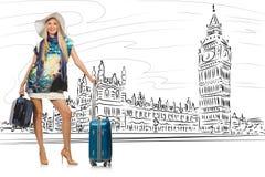 La mujer joven que viaja a Londres en Reino Unido stock de ilustración