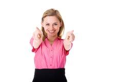 La mujer joven señala hacia la cámara, usted, aislada Imágenes de archivo libres de regalías