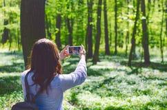 La mujer joven toma una foto con el teléfono elegante en un camino en el bosque Fotos de archivo libres de regalías