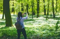 La mujer joven toma una foto con el teléfono elegante en un camino en el bosque Imagenes de archivo