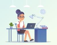 La mujer joven trabaja en oficina stock de ilustración