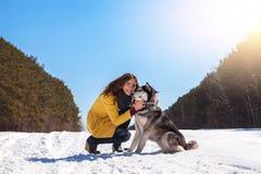 La mujer juega con el perro en el bosque del invierno Fotos de archivo