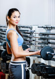 La mujer levanta pesas de gimnasia Foto de archivo libre de regalías