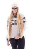 La mujer linda joven atractiva con el pelo largo en invierno caliente viste Fotos de archivo libres de regalías