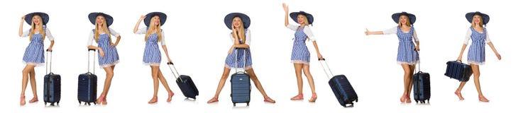 La mujer lista para el viaje del verano aislado en blanco Imágenes de archivo libres de regalías