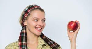 La mujer lleva la cesta con las frutas naturales Las manzanas del jardinero del granjero cosechan blanco rústico de las manzanas  imagenes de archivo