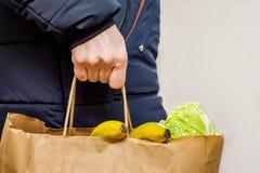 La mujer lleva el paquete de verduras y de frutas, productos de compra, imagen de archivo