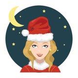 La mujer lleva a Santa Claus Hat 2 Foto de archivo libre de regalías