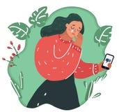 La mujer lloraba Malo del mensaje de teléfono ilustración del vector