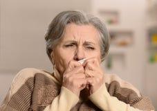 La mujer madura derriba enfermedad un frío Imagen de archivo libre de regalías