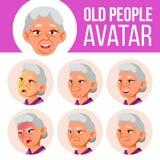 La mujer mayor asiática Avatar fijó vector Haga frente a las emociones Person Portrait mayor Personas mayores envejecido Emocione libre illustration