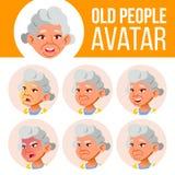 La mujer mayor asiática Avatar fijó vector Haga frente a las emociones Person Portrait mayor Personas mayores envejecido Plano, r stock de ilustración