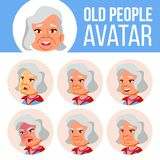 La mujer mayor asiática Avatar fijó vector Haga frente a las emociones Person Portrait mayor Personas mayores envejecido Usuario, stock de ilustración