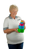 La mujer mayor con muchos presenta Imagenes de archivo