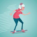 La mujer mayor está patinando Fotografía de archivo libre de regalías