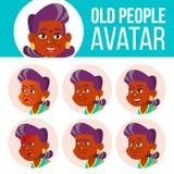 La mujer mayor india Avatar fijó vector hindú Asiático Haga frente a las emociones Person Portrait mayor Personas mayores envejec stock de ilustración