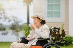La mujer mayor se relaja en patio trasero Fotografía de archivo