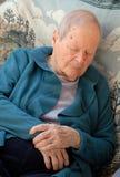 La mujer mayor tiene un catnap fotos de archivo libres de regalías